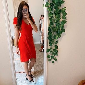 Anthro Maeve Red Splitshade Tulip Hem Dress